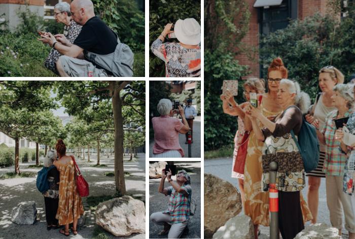 Bei der Exkursion lernen die Teilnehmer/innen, auf den Bildausschnitt, Lichteinfall und Hintergrund bewusst zu achten. Fotos: Amelie Geiger