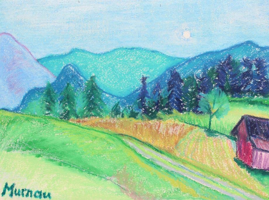 Die Zeichnung einer Voralpenlandschaft mit Hügeln, Wiesen, Bergen und einem kleinen roten Heuschober. Untertitelt