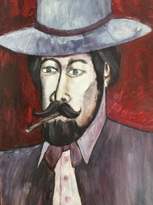 So könnte der Professor dieser Kurzgeschichte aussehen: Mit Hut und Anzug, gepflegtem Bart und Zigarillo im Mund. Zeichnung: Lothar Thiel.