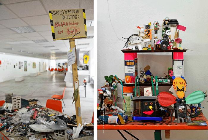 Nach den Lesungen fand am anderen Ende des Pavillons der Upcycling-Workshop von Paula Pongratz statt. Fotos: Marc Kleine-Kleffmann