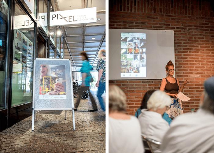 Auf geht's ins schattige Pixel! Die Workshops von Christine Bauer (rechts) sind im wahrsten Sinne heiß begehrt. Fotos: Amelie Geiger