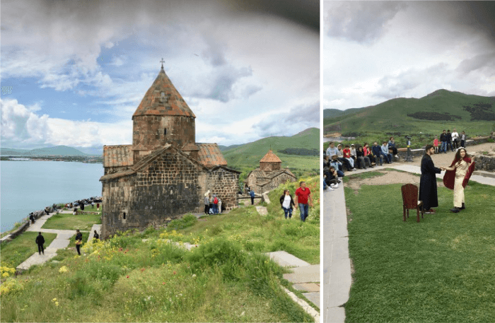 Zweigeteieltes Bild. Links: Kloster Sewanawank am Sewansee. Rechts: Romeo und Julia als Theaterstückauführung einer Schulklasse im Freien. Foto: Christian Callo