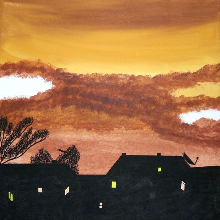 Häuser-Silhouetten vor Abendhimmel © Wolfgang Wose Sell
