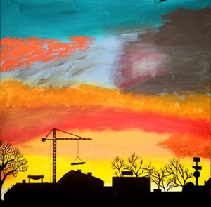 Baukran-Silhouetten vor Abendhimmel © Wolfgang Wose Sell