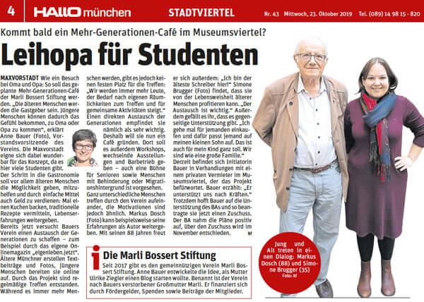 Der Beitrag in HALLO münchen, Ausgabe Schwabing, Maxvorstadt, Altstadt, vom 23. Oktober 2019