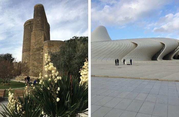 Zwei spektakuläre Kulissen: der Jungfrauenturm und das Haydar-Center.