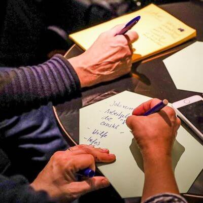 Die Ergebnisse des Workshops wird schriftlich festgehalten.
