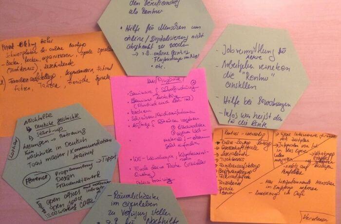 Die kreativen Ideen des Brainstorming wurden auf Zetteln festgehalten.