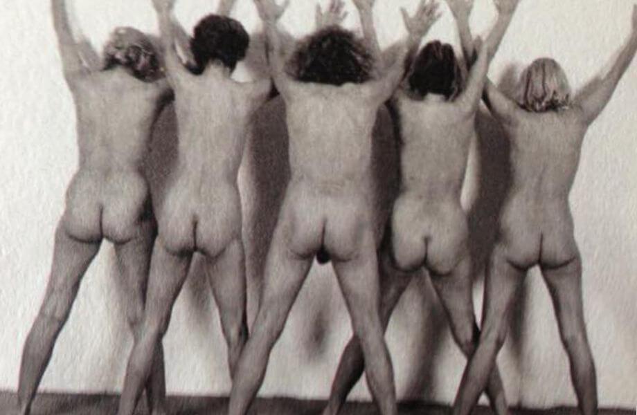Die Frauen mit Rainer Langhans. Von links: Jutta Winkelmann, Christa Ritter, Rainer Langhans, Brigitte Streubel, Gisela Getty.
