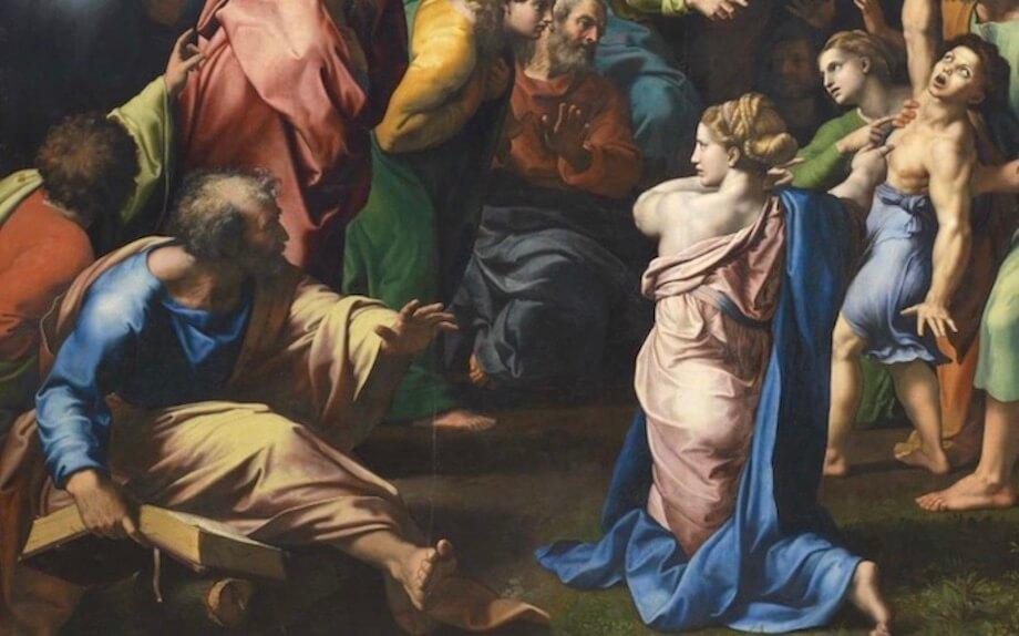 Raffael: Die Verklärung Christi. Ausschnitt. Foto: Stephan Bleek