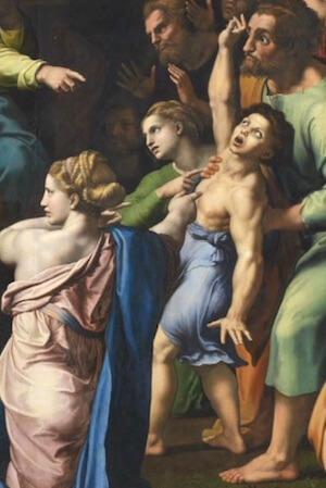 Raffael: Verklärung Christi, Ausschnitt mit dem epilepsiekranken Jungen. Foto: Stephan Bleek
