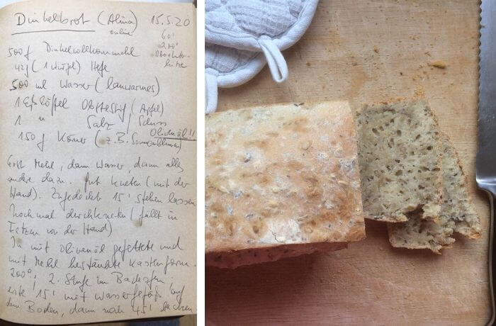 Frisch gebackenes Brot mit Rezept.