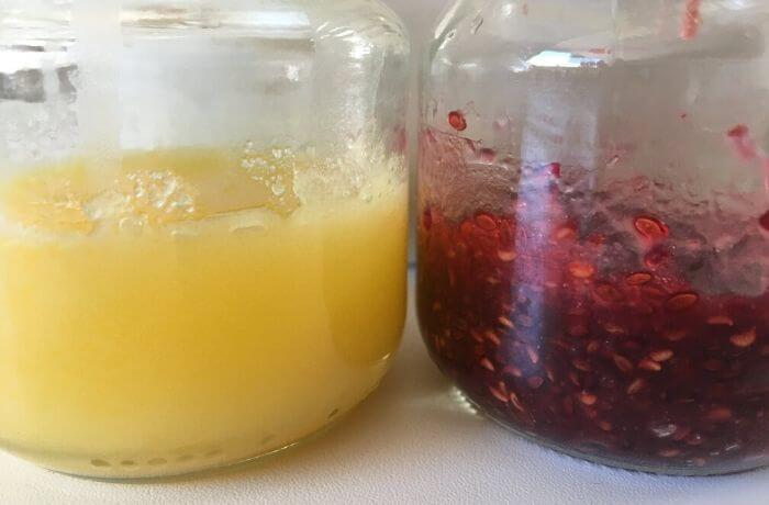 Die Ergebnisse des Naturkosmetik-Workshops lassen sich sehen:Kokos-Karotten-Creme und Himbeer-Waschgel.