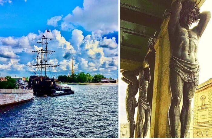 Schiff im Wasser und Skulpturen in St. Petersburg.