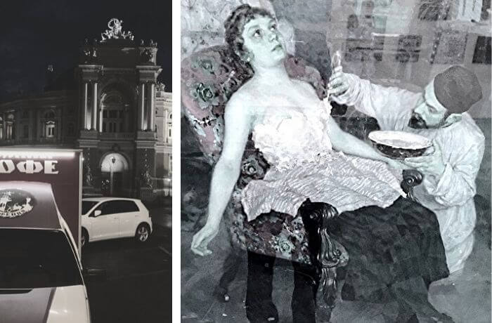 Die Oper von Odessa und ein Künstler beim Bestreichen der Brust seines Modells.