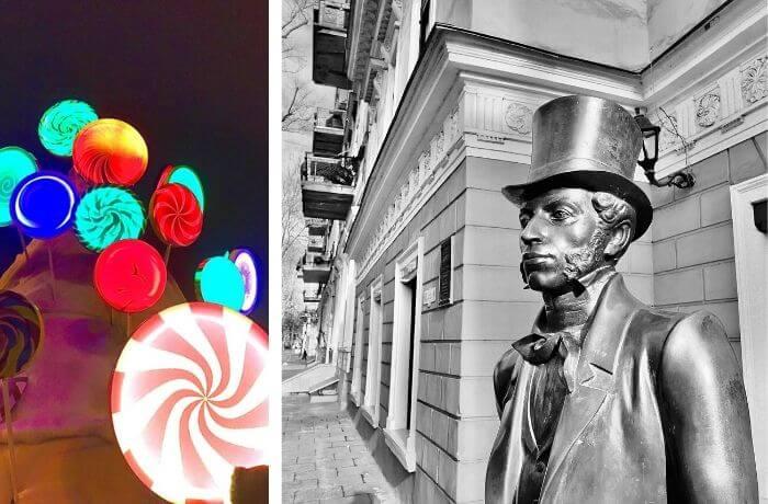 Bunt leuchtende Lollis und Pushkin-Denkmal.
