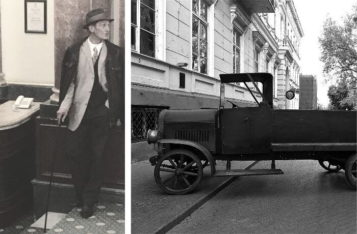 Fotografie von Anton Chekhov und ein altes Auto.