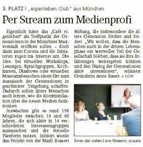 Artikel in Bayerischer Staatszeitung 30.10.2020