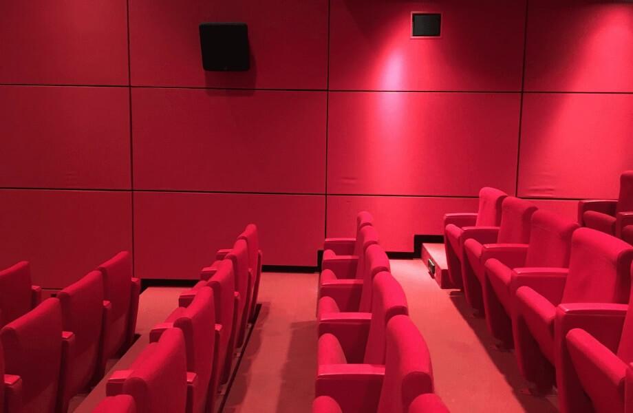Ein leerer Kinosaal mit roten Kinosesseln, roter Wand und rotem Teppich.