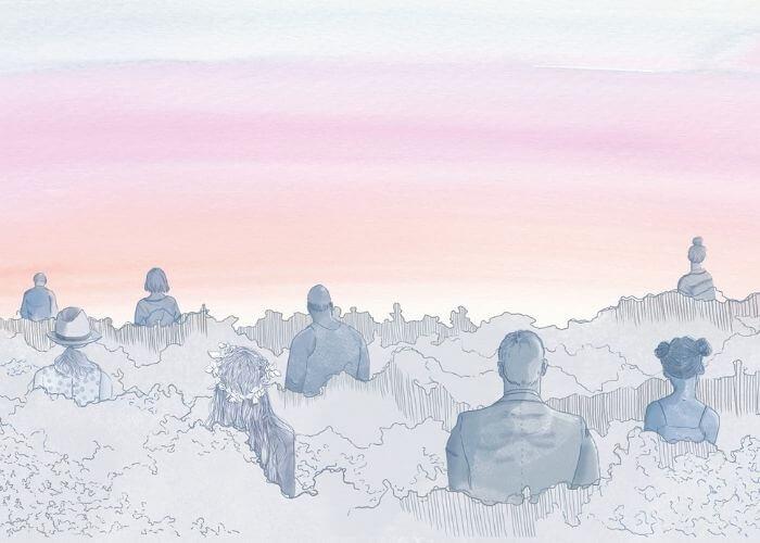 Eine Illustration von Menschen, die mit dem Rücken zum Betrachter bis zur Brust in einem Meer aus Schaum oder Wolken stehen.