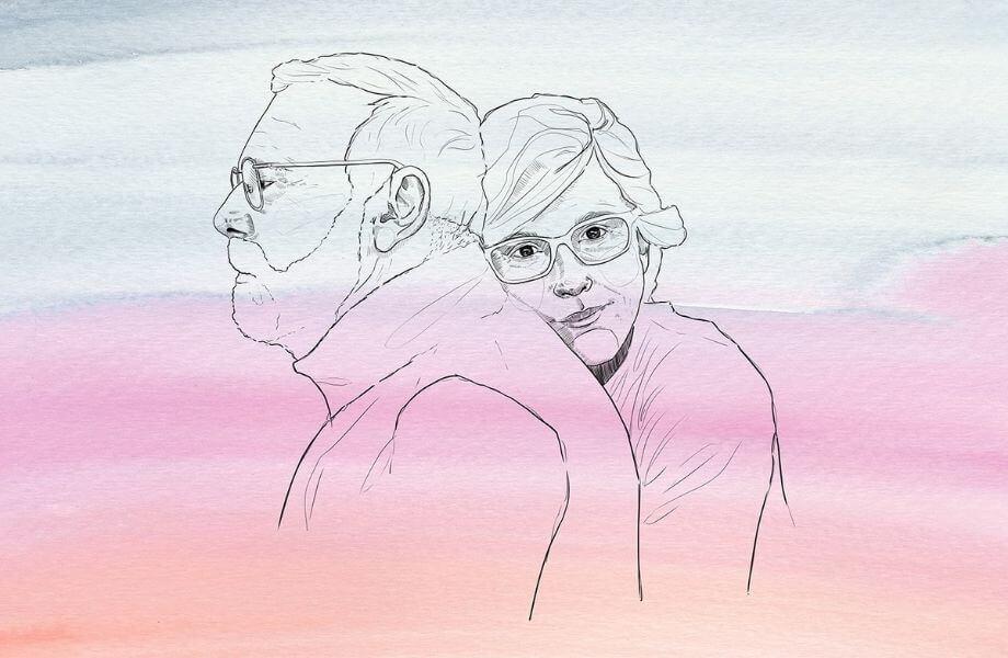Eine Illustration eines älteren Paares, die Frau umarmt den Mann.