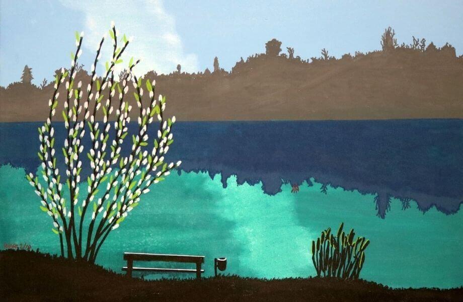 Eine Illustration eines Sees mit Frühlingsbaum und einer Bank.
